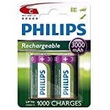 Philips C Size 3000 mAh Rechargeable Batteries x2