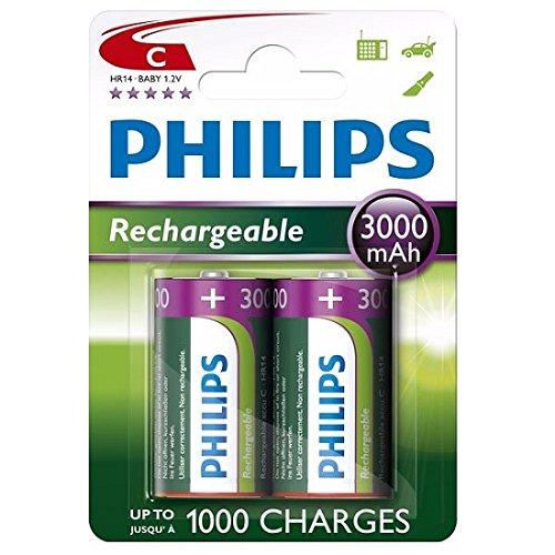 Philips 2 x c tamaño 3000 mah Recargable ni-mh