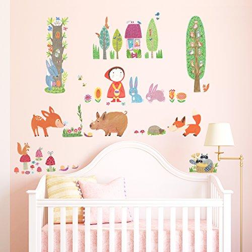 Decowall DW-1601 Rotkäppchen im Wald Waldtiere Tiere Wandtattoo Wandsticker Wandaufkleber Wanddeko für Wohnzimmer Schlafzimmer Kinderzimmer