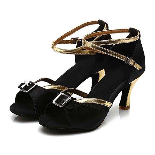HIPPOSEUS Donna Ballroom Scarpe da Ballo/Sala da Ballo Scarpe/Scarpe da Ballo Latino Standard di Raso,Modello-IT220 Nero