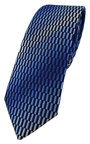 TigerTie schmale Designer Krawatte in blau dunkelblau marine royal silber grau gemustert