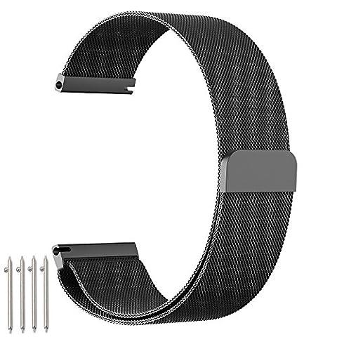 """Bracelet de montre amband, Bracelet en acier Inoxydable Milanais de 20 mm avec serrure magnétique Unique (sans besoin de boucle) et adapté pour la Montre Huawei classique / active, acier inoxydable 36mm, inactivité activité pop / acier / saphir, ASUS Zen Watch 2 1.45 """" Fossil q Tailor et d"""