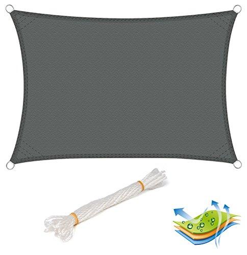 EUGAD Sonnensegel Rechteckig Sonnenschutz Tarp Schattenspender Garten UV-Schutz wasserabweisend 100% Polyester 4x5m Grau (4x5)