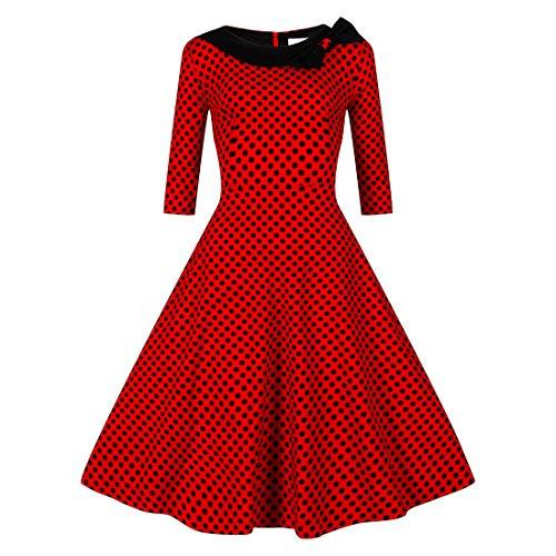 LUOUSE 'Iris' 50er Polka Punkt Ergatterte Vintage Kleid,Red,XXL