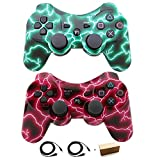Bowink Wireless Bluetooth Controller For PS3 Double Shock - Bundled with USB charge cord (Green Lighning and Red Lighning)