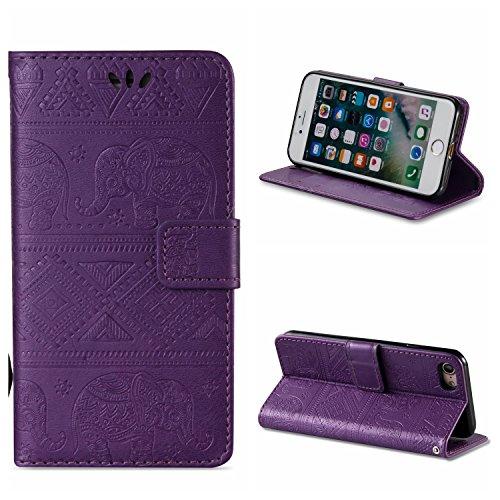 Voguecase® Pour Apple iPhone 7 4,7 Coque, Étui en cuir synthétique chic avec fonction support pratique pour iPhone 7 4,7 (éléphant-Rose)de Gratuit stylet l'écran aléatoire universelle éléphant-Violet