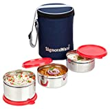 Signoraware Executive Stainless Steel Lunch Box Set, Set of 3, Red