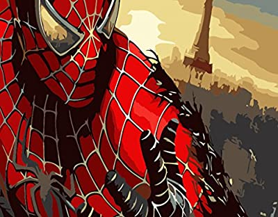 [ New Release ] Diy Oil Painting by Numbers, Paint by Number Kits - Spider Man 16*20 inches - Digital Oil Painting Canvas Wall Art Artwork Landscape Paintings for Home Living Room Office White Christmas New Year Valentine Decor Decorations Gifts - Diy Pai