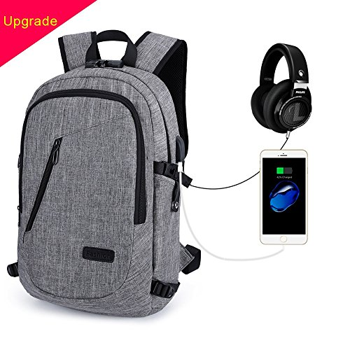 Zaino per laptop-Socket di ricarica USB [multifunzione] Antifurto durevole e unico impermeabile per borsa da scuola business Suit per zaino da 15.6 pollici per laptop (Grigio)