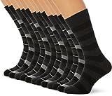 FM London Argyle, Chaussettes Homme (Lot de 12) - Noir (Striped) - 39-45 EU (Taille fabricant: UK 6-11)