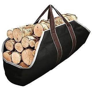 Amagabeli Large Canvas Logs Carrier Landman Fire Wood Indoor Firewood Rack Totes Holders Log Holder Tote Bag Carriers Carrying for Fireplace Birchwood Rack Round by Wood Stove Ash Bucket Basket Black