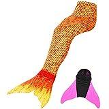 DECOOL Meerjungfrauenschwanz Zum Schwimmen mit Meerjungfrau Flosse Schönes Meerjungfrauenkostüm für Mädchen,Höhe 90-165cm