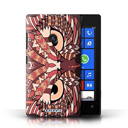 Etui / Coque pour Nokia Lumia 520 / éléphant-Couleur conception / Collection de Motif Animaux Aztec Hibou-Rouge