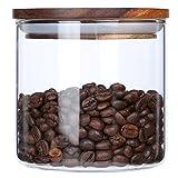 KKC Glasbehälter mit Deckel 550ml,Vorratsdosen Glas mit Deckel Luftdicht, Borosilikatglas Vorratsbehälter mit Holz Deckel für Tee Kaffee Zucker Salz