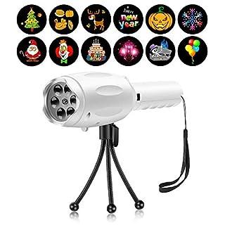 Musical LED Kinder Weihnachts Handheld Projektor Taschenlampe Licht Projektionslampe Spielzeug mit 12 Dias Weihnachtslicht Feiertagsdekoration für Weihnachten Halloween Geburtstag Parteien Geschenk