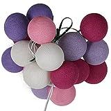 ART-CRAFT LED Stimmungs Textil-Lichterkette batteriebetrieben mit 20 handgefertigten Baumwollkugeln Leuchtfarbe violett - rot - weiß