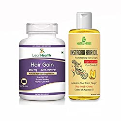 Nutriherbs Instagain hair oil & Hairgain capsules combo for men & women | growth 100 ml | 60 capsules