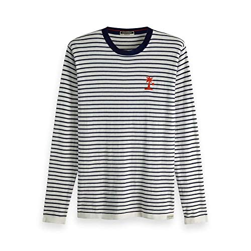 Blue-cashmere Crewneck Pullover (Scotch & Soda Herren Pullover Lightweight Striped Crewneck 149121 Blue Stripes L)