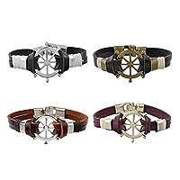 MJARTORIA Unisex PU Leather Hemp Cords Rudder Charm Multi Strands Wrap Bracelets Pack of 4