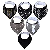 LIGHTOP 6er Baby Dreieckstuch Lätzchen Mädchen Spucktuch Baumwolle Halstücher Doppellagig Saugfähig mit süßen Motiven in unterschiedlichen Farben