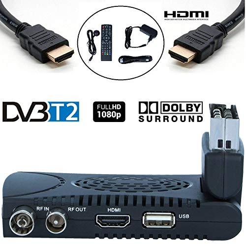 Decoder terrestre DVB-T2 - Tempo 1000 compatibile per canali TNT HD questo ricevitore DVB-T2 consente di leggere i canali emesse dalla vostra antenna locale in alta definizione. digitale terres