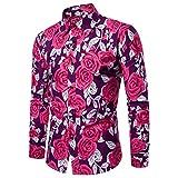 ♫♫ Amlaiworld Lang Coole Büro Herren Blusen lässig Mode Pullover Freizeit Outdoor Langarmshirts Bunt Rose drucken Hemd Party Gemütlich Baumwolle Oberteile