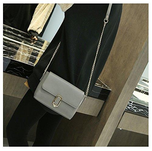 ZKOO Femme Sac à Bandoulière en Cuir PU Sac Porté épaule Petite Sacoche en Vintage Besace Gris Foncé