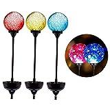 Behavetw 3 Stück farbwechselnde LED Craquelé-Glaskugel-Lichter, solarbetrieben, für den Außenbereich, Garten-Dekoration, Pfahl-Lichter für Wege, Rasen, Wie Abgebildet, 3pcs
