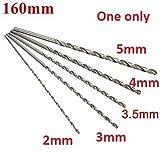 #8: World2home 2-5mm Dia. Drill Bit Extra Long High Speed Steel Straight Shank Auger Twist Drill Bit Set 160mm for Metal Wood Power Tool Mayitr