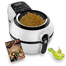 Tefal Genius snaking fz761015 friggitrice senza olio d' aria 1,2 kg, con 9 programmi automatici E accessorio per Snack pannello tattile intuitiva E include ricette, Adatto lavastoviglie, colore: Nero
