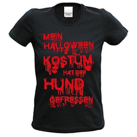 Fun-T-Shirt Frauen Damen Aufdruck Mein Halloween Kostüm hat der Hund gefressen zur Halloween-Party, Feier Geschenk-idee kurzarm Farbe: schwarz Gr: (Kostüm Idee)