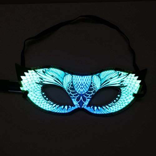Glowing Flashing Venetian Mask - Masquerade  Feather Style - With Mini Driver