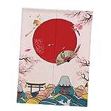 non-brand Tenda Divisoria Appeso a Parete Stile Giapponese Noren Tappezzeria Natale Home Decor - Red Sun e Sakura L