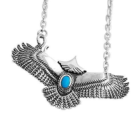 XYLUCKY 925 Silver Eagle Indian gemstone pendant necklace retro