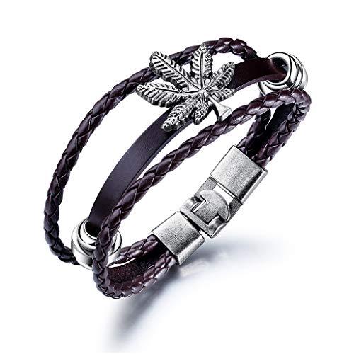 Kimddt Multistrand Black Braided Leather Armband für Männer Frauen Leder Wristband Wrap Armband,Purple -