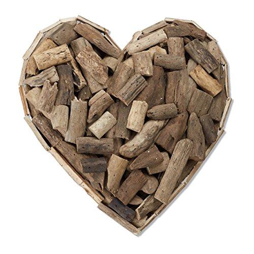 Relaxdays Holzherz aus Treibholz, maritimes Dekoherz als Wandschmuck, handgemachtes Symbol der Liebe für Paare, natur