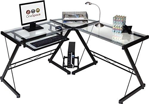 OneSpace Ultramoderner Glas-Schreibtisch in L-Form Modern Black and Clear - L-förmigen Schreibtisch Möbel