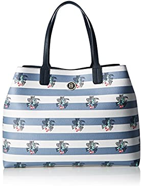 Tommy Hilfiger Damen LOVE TOMMY  REVERSIBLE RIBBON PRINT Tote Mehrfarbig (Midnight / Chambray Ribbon Print)