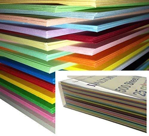 Dalton Manor A4Farbiges Papier 250Blatt, 160g, Lieferung in Weston®-Aufbewahrungsbox–25verschiedene Farben