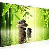 Bilder Feng Shui Steine Wandbild 150 x 60 cm Vlies - Leinwand Bild XXL Format Wandbilder Wohnzimmer Wohnung Deko Kunstdrucke Grün 5 Teilig - MADE IN GERMANY - Fertig zum Aufhängen 501956a