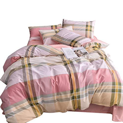 HMEIGUI Bedding Queen Queen-Bettbezug - Reversible ultraweiche, Reine Baumwolle Bettwäsche Tröster-Set, Double Duvet Set 4-teiliges Set Reißverschluss,Pink_Full Size -