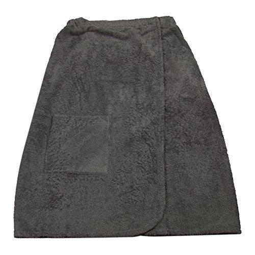 Zollner® Saunakilt/Saunatuch / Damen Saunakilt mit Gummizug und Klettverschluss, Oberschenkeltasche, 100% Baumwolle, Farbe anthrazit, Größe S/M, in weiteren Größen und Farben möglich, Serie Sana
