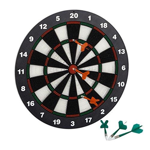Relaxdays Dartscheibe 42 cm Soft Darts, 6 Pfeile, kindgerecht, Wandmontage, Standfuß Sicherheits-Dartboard, schwarz-weiß