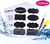 Chalkboard Labels, 112pcs Waterproof/Reusable Blackboard Sticker Kit For Kitchen Organize, With 2 Erasable White and Yellow Chalk Pens To Decorate Your Party/Office Mason Jars and Kilner Bottles