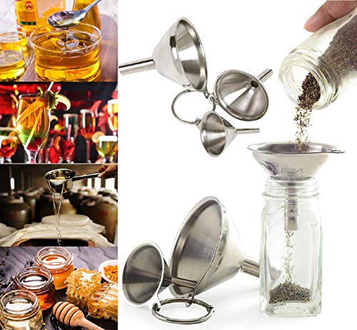 Edelstahl Canning Trichter (Koojawind Mini Trichter, Edelstahl Trichter Set Canning Abnehmbarer Siebfilter Mini Trichter FüR Flaschenablage ParfüM äTherisches ÖL, 3Pc)