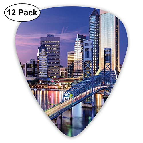 Guitar Picks - Abstract Art Colorful Designs,Urban Cityscape Bridge Office Buildings Jacksonville Florida,Unique Guitar Gift,For Bass Electric & Acoustic Guitars-12 Pack