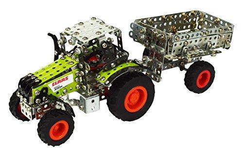 Tronico 09500 - Metallbaukasten Traktor Claas Axion 850 mit Kippanhänger, Maßstab 1:64, Micro...