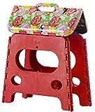 VIGAR Compact Taburete Plegable con Superficie y Patas Antideslizantes con Peso Soportado hasta 150 Kg-Dimensiones 35x26x32 cm-Color Rojo