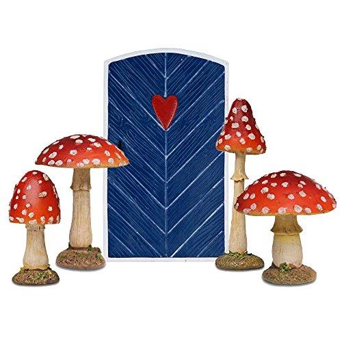 Garten Deko Figuren Set Blaue Feen Türe & 4 Fliegenpilze aus Polyresin