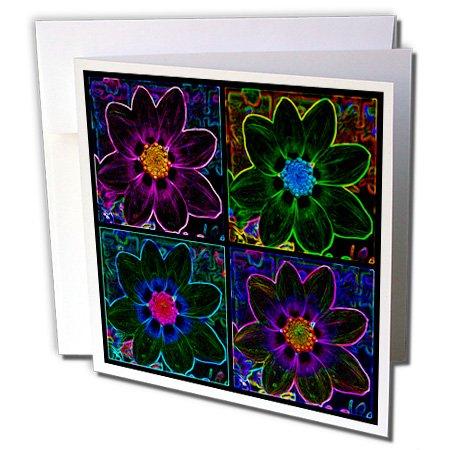 3dRose gc_8092_1 Grußkarten, Motiv Cosmos Flower Collage in Neon Glow - 15,2 x 15,2 cm, 6 Stück (Geburtstag Glow Einladungen)